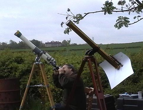 Mike Dumelow observing the transit of Mercury on 7th May 2003